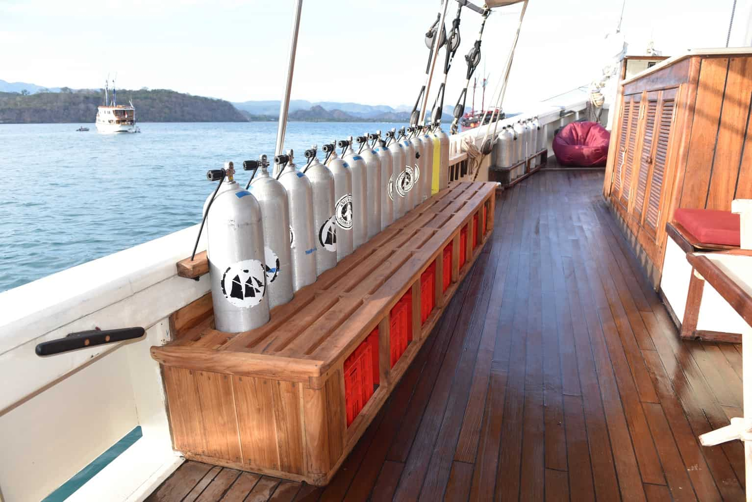 Indonesia liveaboard Diving holidays Emperor Raja Laut Dive Deck