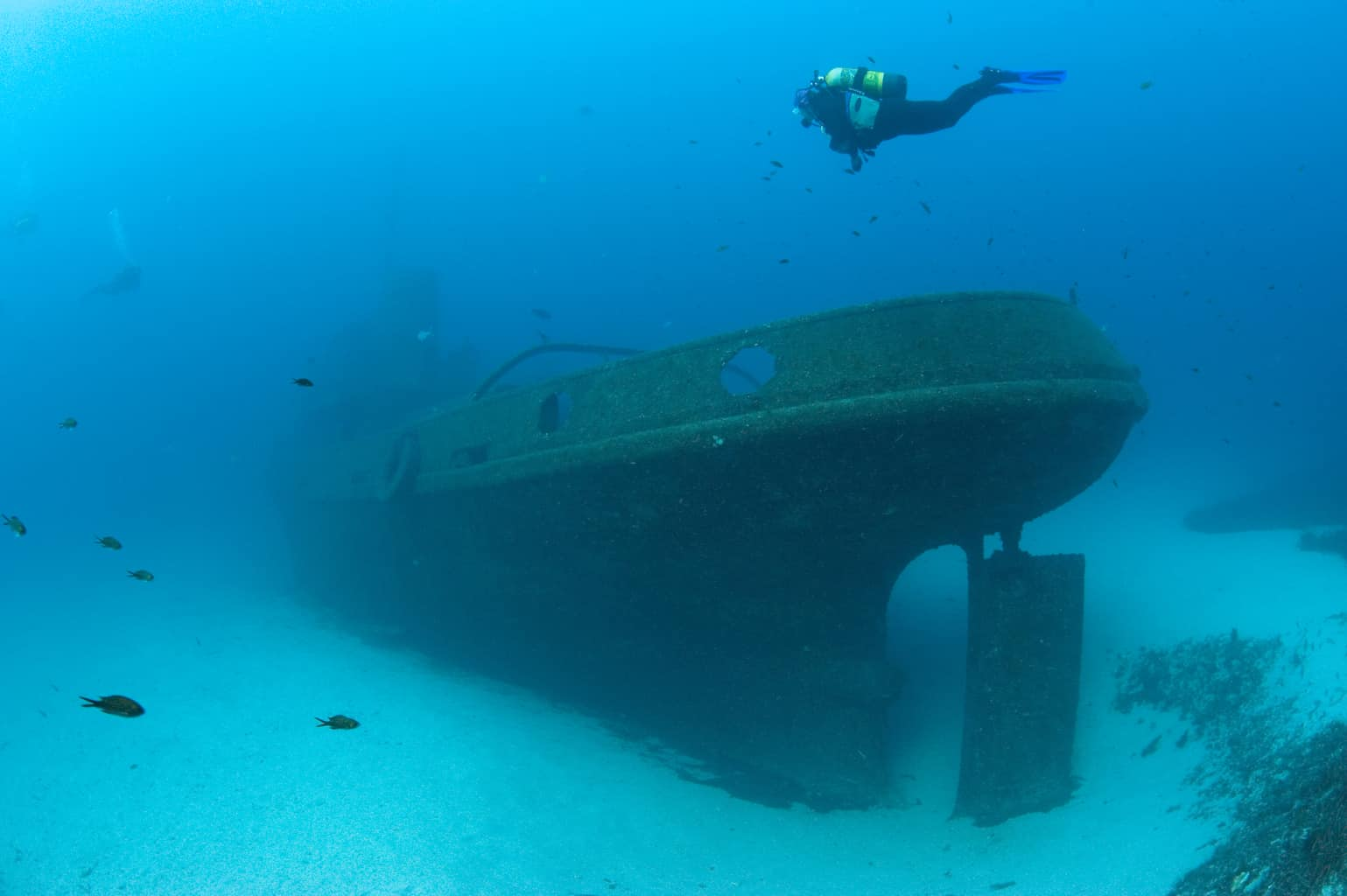 Malta and Gozo Diving holidays Diver and wreck