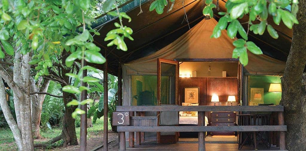 Mozambique Diving Safaris Hluhluwe Game Reserve Falaza Lodge Tent Exterior and trees