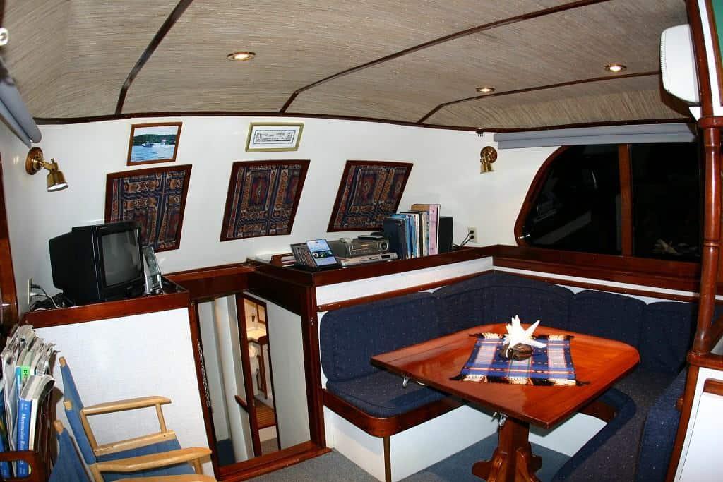 Palau Liveaboard Diving holiday Ocean Hunter 1 Saloon and TV