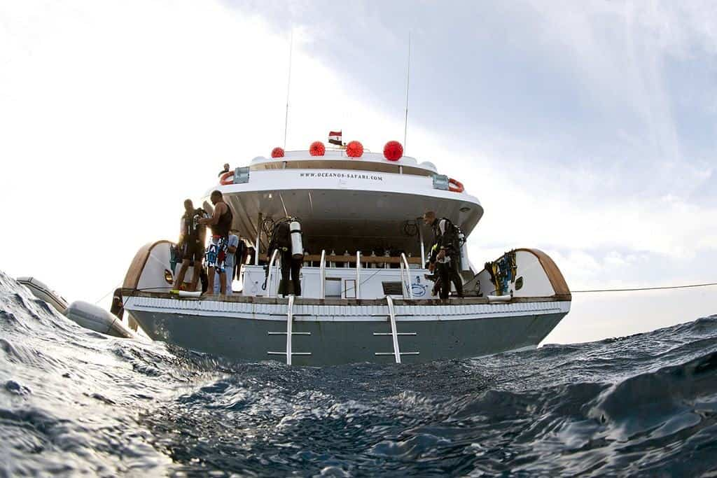 Sudan Diving Liveaboard holiday MY Oceanos dive deck Divers