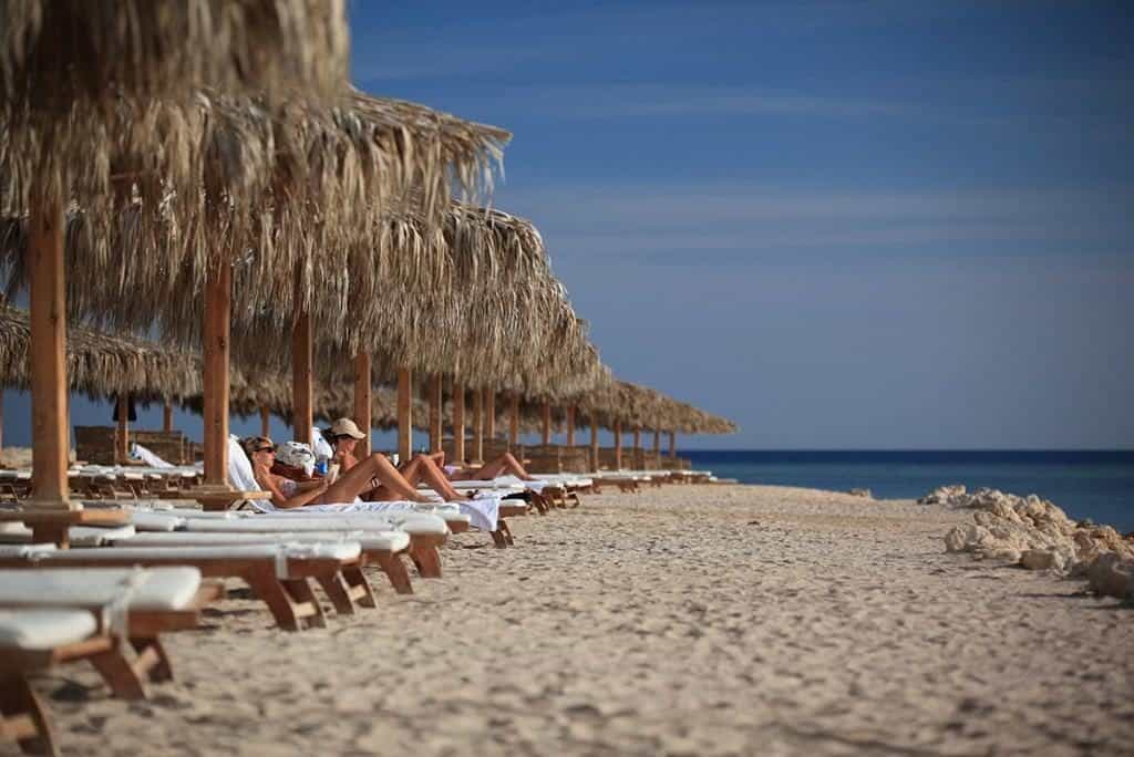 Red Sea Egypt Diving Holidays Soma Bay Breakers Diving Lodge Beach and Sun Loungers