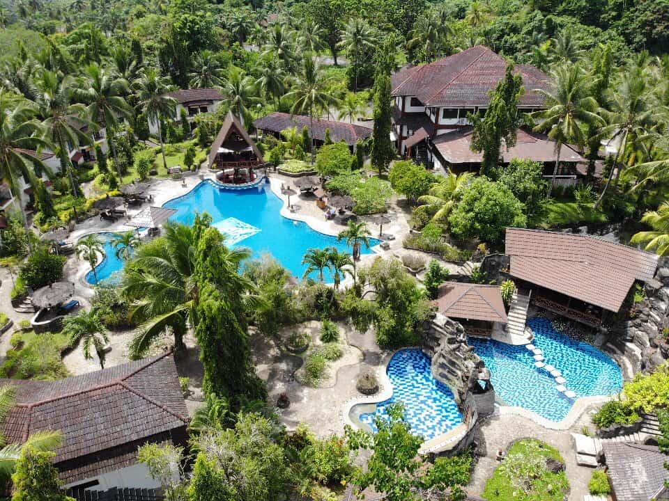 Indonesia Diving Holiday North Sulawesi Tasik Ria Resort Aerial shot