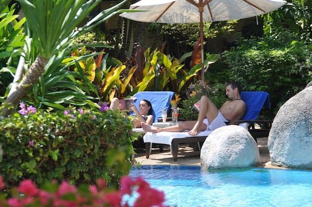 Thailand Diving holidays - Phuket Palm Garden pool sunbathing